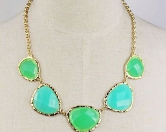 Blue and Green Irregular Crystal Statement Necklace