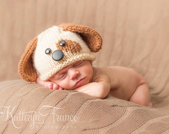 Newborn Puppy Hat Photography Prop, Hand Knitted, MADE TO ORDER
