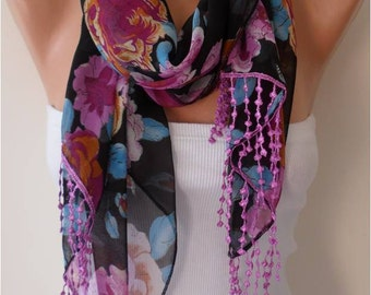 Purple Floral Chiffon Scarf with Lace Edge - Gift