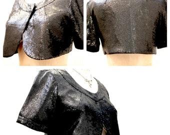 Vintage Black Sequined Bolero/Caplet