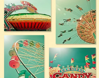 Carnival Fair Retro Photography: Ferris Wheel, Swings, Starship 2000, Candy Sign – Set of 4, Metallic Prints. Series 1