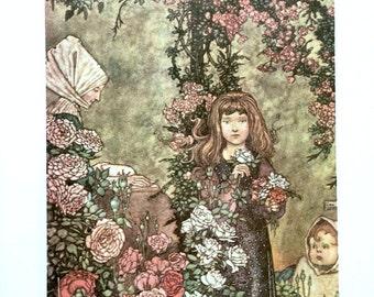 1913 CHARLES ROBINSON Hans Christian ANDERSEN Girl in a Garden Print Ideal for Framing