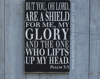 Psalm 3:3 Christian Typography Scripture Subway Art Wood Sign