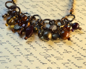 Bohemian Statement Necklace Earth Tones Brown Amber Charms Boho Antique Bronze Rustic Tigers Eye Agate Toggle Clasp Jewelry Free Shipping