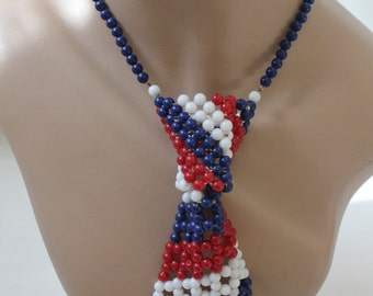 1970s Patriotic Beaded Tie Necklace Vintage