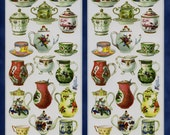 Tea Service STICKERS - Tea Stickers - Tea Party Stickers - Scrapbook Stickers - Victorian Stickers -Violette Stickers
