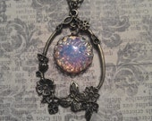 Through the Fields. Vintage 1940's Opal Glass in Ornate Open Floral Butterfly Antiqued Bronze Setting Necklace