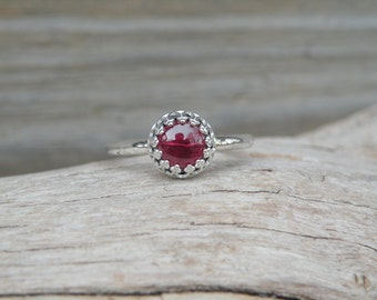 Garnet Ring, Simple Garnet Ring, Garnet, Sterling Silver