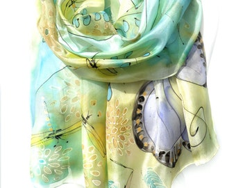 Music Scarf. Butterfly Scarf. Hand Painted Scarf. Silk Shawl. Musical Notes Scarf. Turquoise Scarf. Pastel Silk Shawl. 18x71in MADE to ORDER