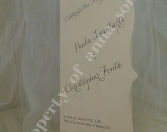 PROGRAM for Wedding Ceremony - Flourish Edge Slim Folded Elegant - Personalize Colors and Motif at no extra charge