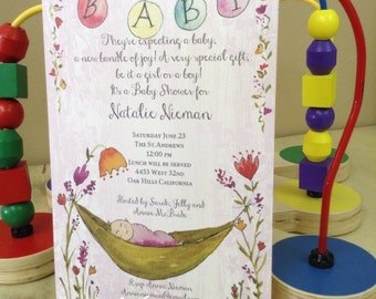 BABY SHOWER INVITATIONS with baby in pea pod - gender neutral but still cute!  Personalize font and font color