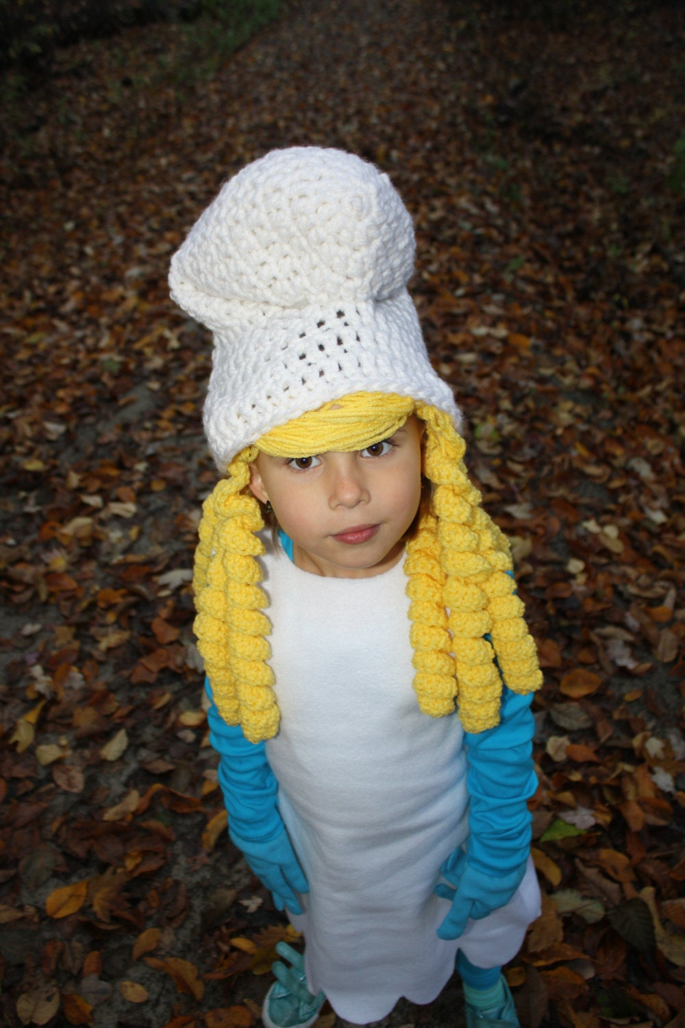 Smurf Smurfette EASY Crochet Hat PDF Pattern Size Child &