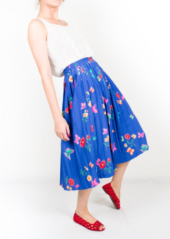 vintage electric blue pleated skirt statement blue midi