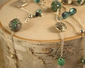 Long Beaded Necklace- Green and Silver Mixed Beads- One of a Kind