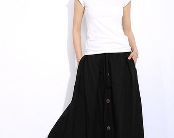 Black Linen Skirt - Casual Everyday Maxi Length Long Buttoned Woman's Skirt with Drawstring Waist Plus Size Clothing C336