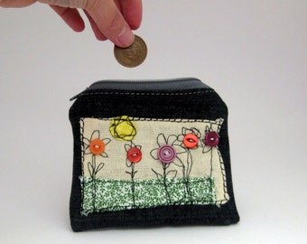 Little Zipper pouch ,Coin Purse ,Gadget Case, ECO Friendly, embroidered, coin pouch, upcycled