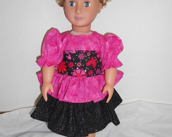 Pink and Black Glitter Dress for American Girl doll and other 18 inch dolls