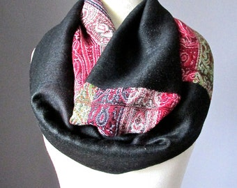 Black infinity scarf, pashmina infinity scarf, ethnic scarf,  chunky scarf, handmade scarf by Scarf Obsession