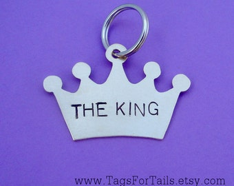 Crown Pet Tag - Personalized Cat or Dog ID Tag - Handmade