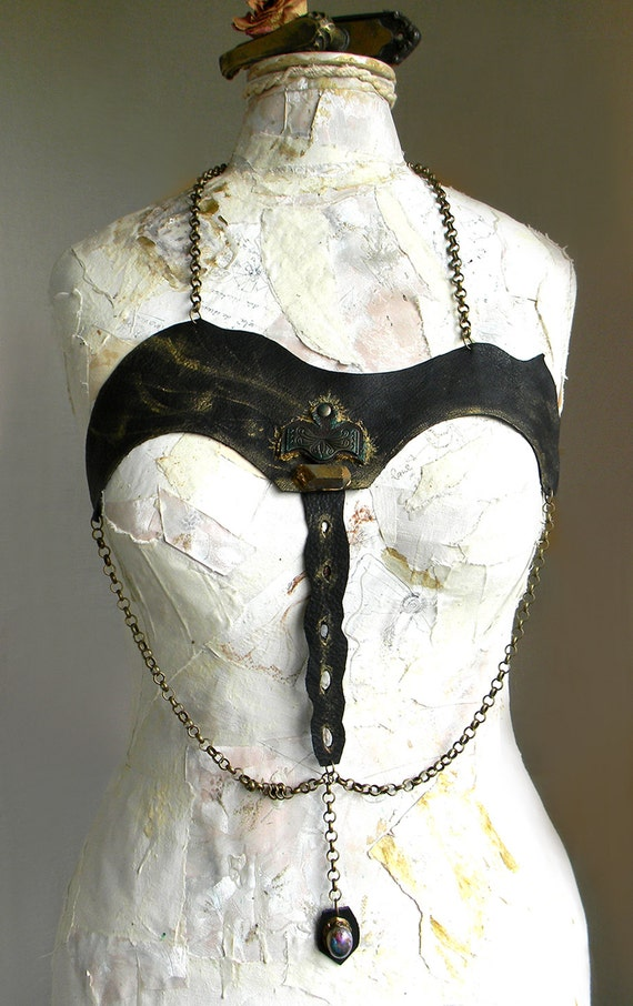 Black Leather Harness Body Chain Jewelry, Sexy Fetish and Gothic Halloween Costume Dominatrix BDSM and Steampunk Couture