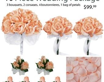 10 Piece Wedding Package - Silk Wedding Flowers - Bridal Bouquets - Peach Wedding Bouquets