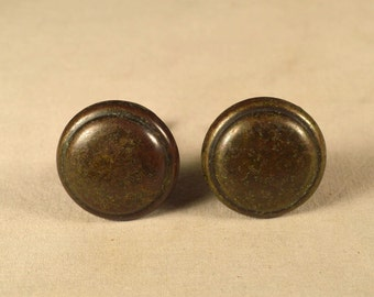 Brass Drawer Pulls Button Round Pair Antique Natural Patina