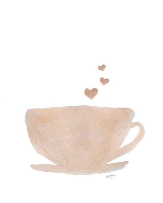 Coffee Art, Coffee Cup Painting, Natural Kitchen Decor, Kitchen Art, Kitchen Watercolor, Caffeine, Coffee Watercolor Print, Cup of Coffee