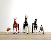 Set of 5 Horse Figurines // Vintage Toys / Horse Collection