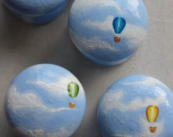 Hand Painted Children's Furniture Knobs.  Transform Nursery's into Designer Dream. Hot Air Balloon in blue sky, alphabet letters!!