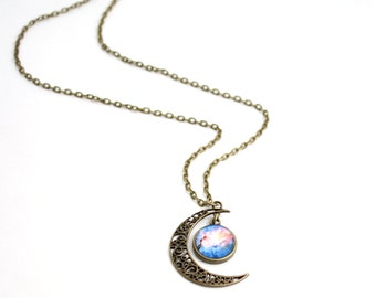 Moon And Galaxy Necklace, Galaxy Print Lunar Necklace, Galaxy Jewelry, Planetarium Necklace, Nebula Necklace