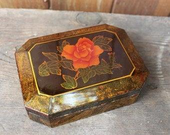 Vintage Lacquered Rose Trinket Box