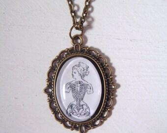 Vintage Anatomical Skeleton Lady Pendant Necklace Jewellery