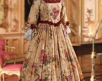 Renaissance Victorian Dress Ensemble including Fur Shawl, Skirt, Bodice, Multiple Colors Available