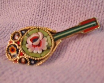 Vintage micro moasic mandolin pin or brooch pink red green mad men astronaut wives