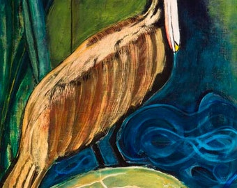 """Pelican standing on a Turtle, 11 x 14 inches, """"That's What Friends are For""""."""