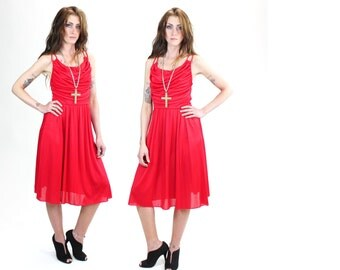 1970s Strappy Backless Red Hot Midi Dress