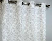 French Light Grey White Cecelia Damask Curtains - Grommet - 84 96 108 or 120 Long by 25 or 50 Wide - Optional Blackout or Cotton Lining