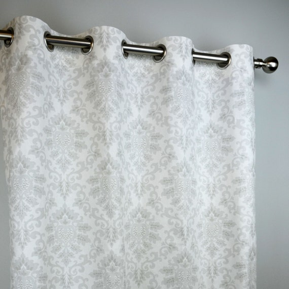 French Light Grey White Cecelia Damask Curtains Grommet 84