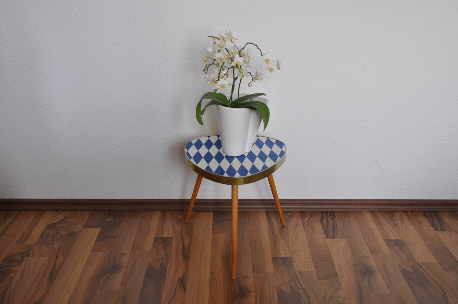 rare mid century plant stand blue diamonds germany 1960s. Black Bedroom Furniture Sets. Home Design Ideas
