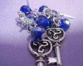 Beta Blue eyes Derek Hale triskelion key earrings