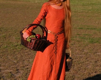 "20% DISCOUNT! Medieval Long Linen Dress Tunic ""Red Elise"""