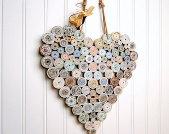Recycled Coiled Paper Heart 12x12 Neutral Natural Shades, Handmade