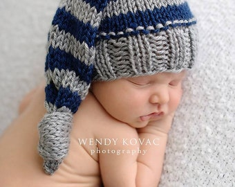 Newborn Baby Knitted Striped Elf Knot Hat perfect for Photography Props