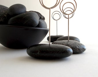 Black Tie Seaside Event Place Card Holders Using Small Beautiful Black Beach Stones