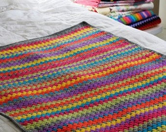 Colourful Granny Stripe Crochet Lap or Baby Blanket
