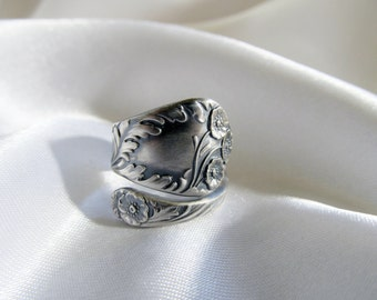 Wild Rose Spoon Ring Sterling Circa 1900 June Flower Spoon Ring Unique Gift For Her
