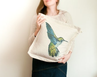 Hummingbird cushion cover in cotton linen