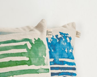 Two striped pillow covers, green and blue watercolor printed scatter cushions