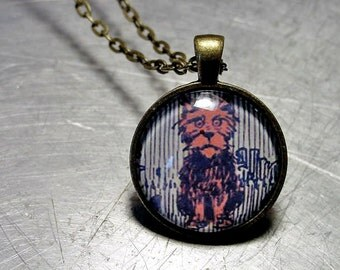 WIZARD of Oz  Pendant TOTO Annoyed BRASS Necklace Rare 1903 Illustration