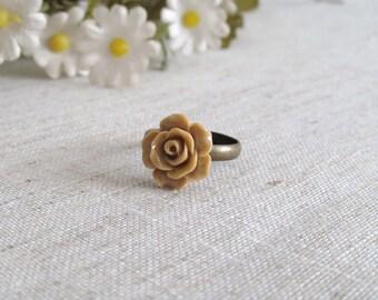 Brown Rose Cabochon Ring - Antique Bronzed Adjustable Ring